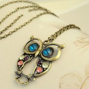 Rhinestone OWL Pendant Long Chain Necklace